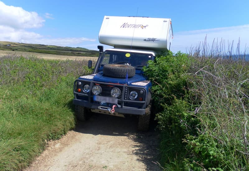 Going off-road in a Landrover Northstar Camper Rig