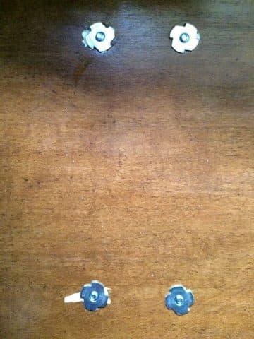 Everbuilt t-nuts on back of dinette