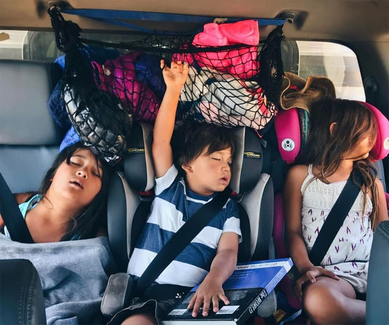 Exhausted Sleeping Kids in the Truck