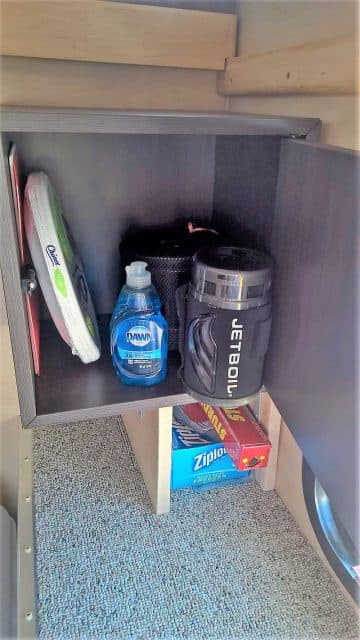 IKEA cabinet storage in pop-up camper