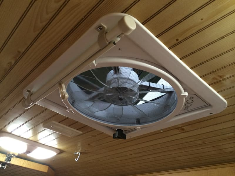 Roller shade retracted for Fan Vent