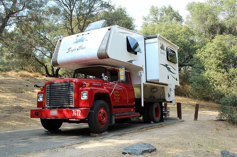 Camping in the fire truck and Eagle Cap Camper rig