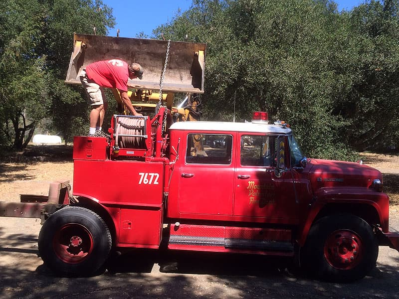 Fire truck being turned into a flatbed truck