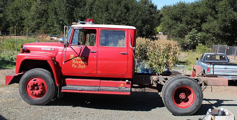 Fire truck chassis before flatbed