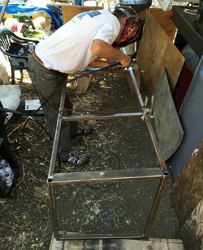 Welding the frame for the exterior storage area