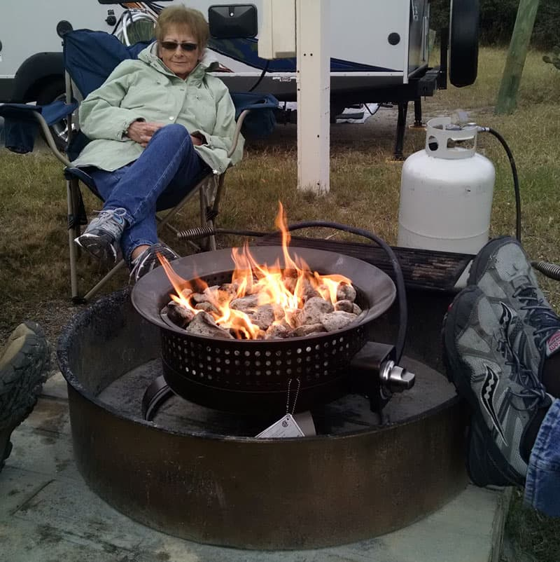 Lowes Firepit Camping instead of transporting firewood