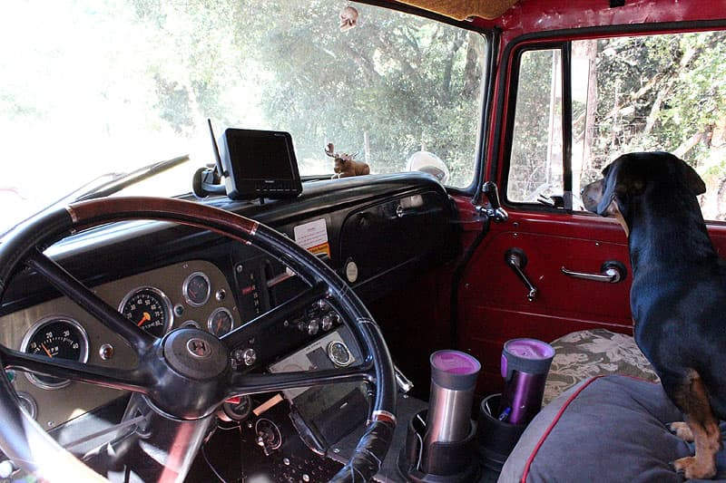 Fire truck front cab and dashboard