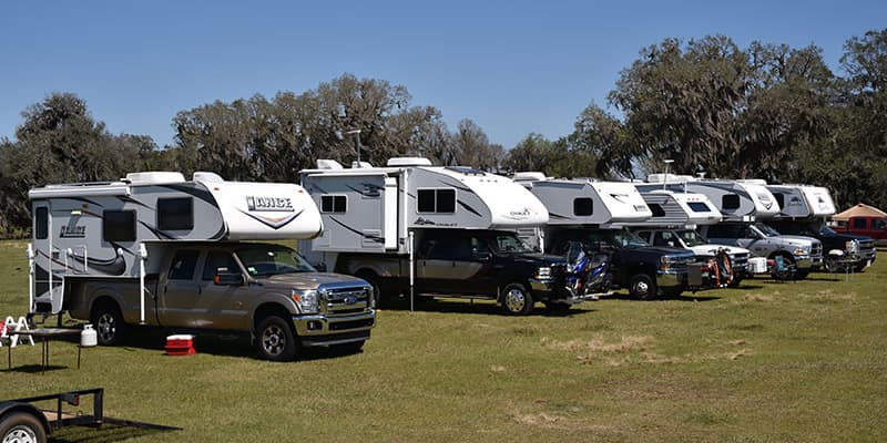 Flywheelers Antique Show campers in the field