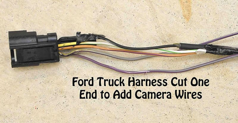 Ford Truck Harness Cut at One End to Add Camera Wires
