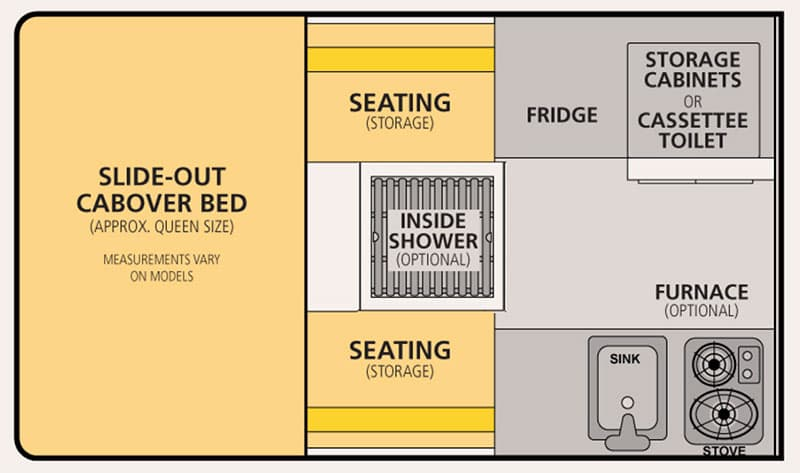 Four Wheel Camper Hawk Front Dinette Floor Plan