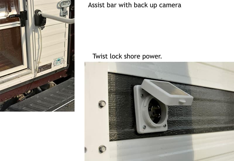 Four Wheel Camper Shell backup camera and assist handle