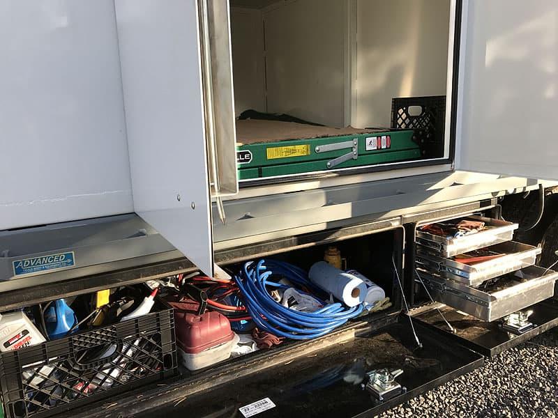Freightliner truck camper outside storage