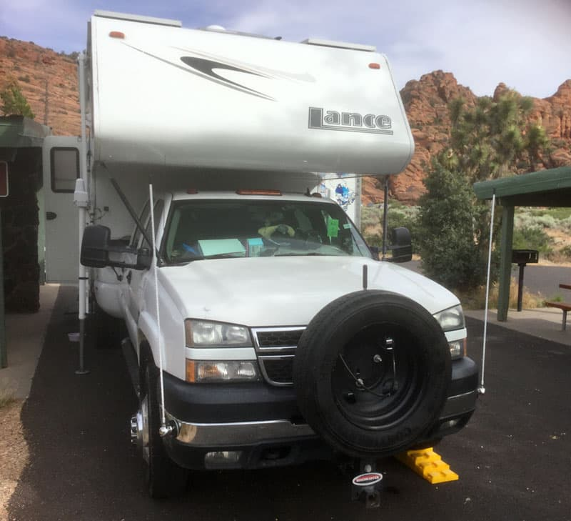 Front hitch spare tire with a Lance