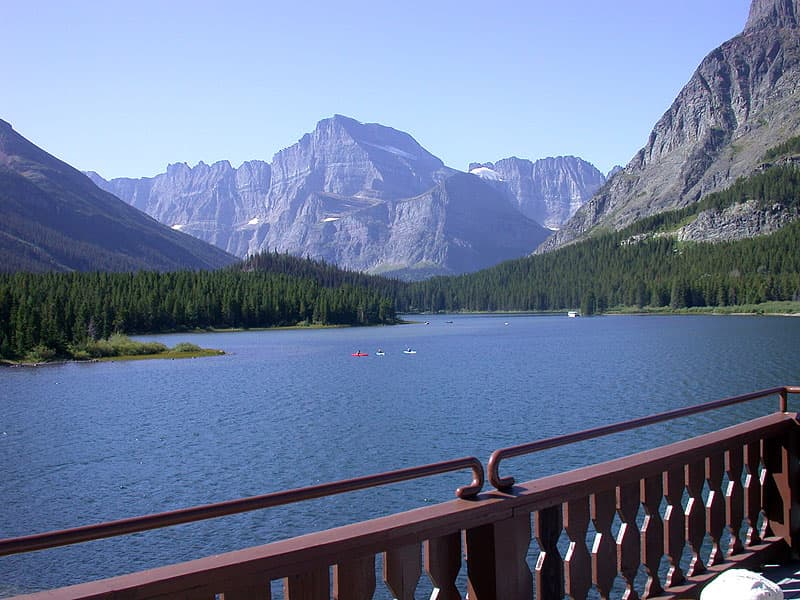 Many Glacier Hotel looking out over Swiftcurrent Lake