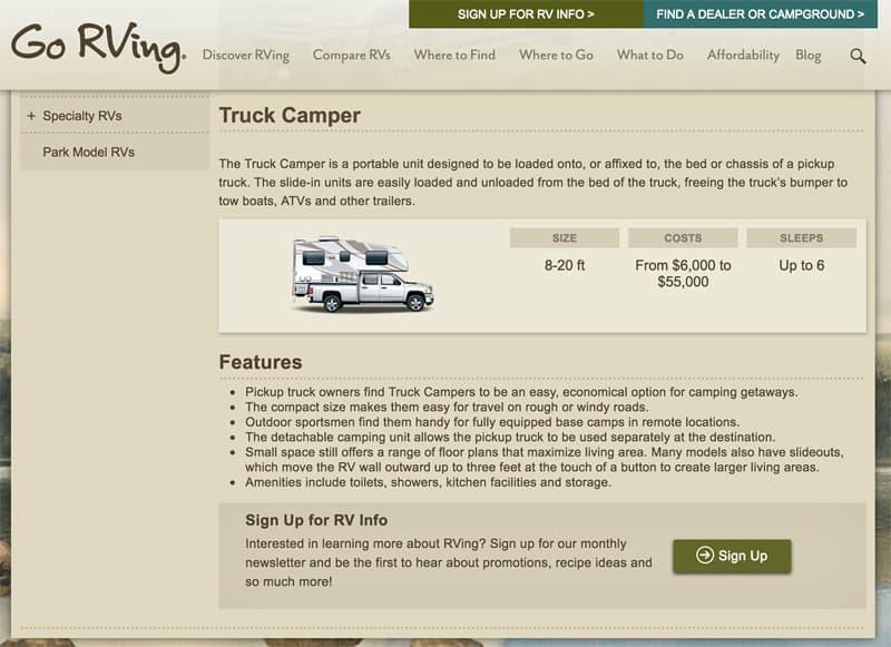 Go RVing Truck Camper Website Page