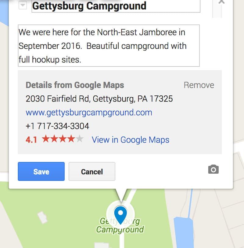 Gettysburg Campground description