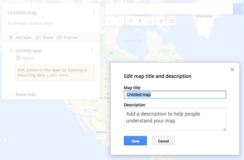 Map Name area of Google Maps
