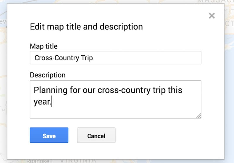 Google Map named Cross Country Trip