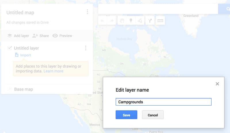 Campground layer in Google Maps