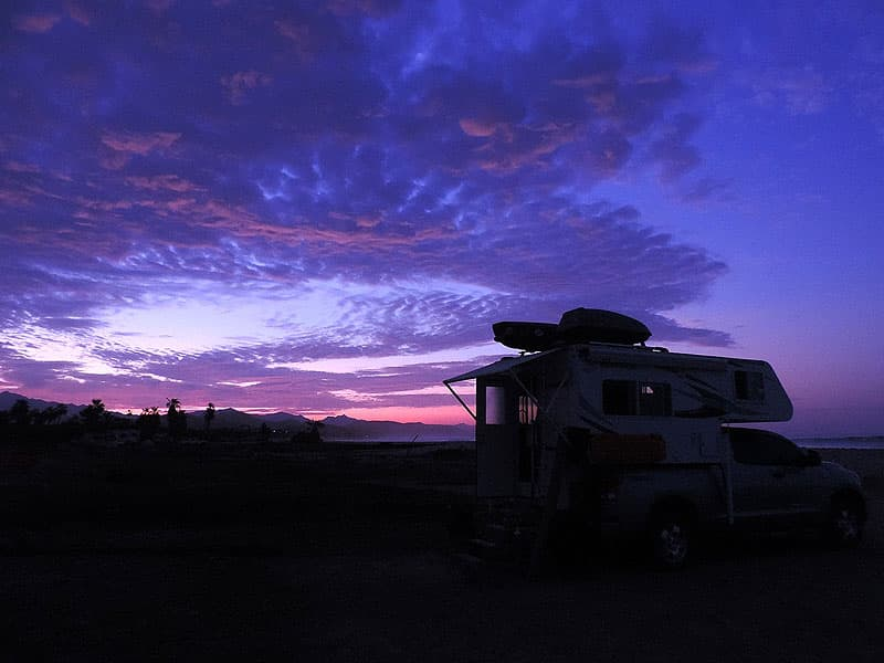Sunset after a good gourmet meal on the road