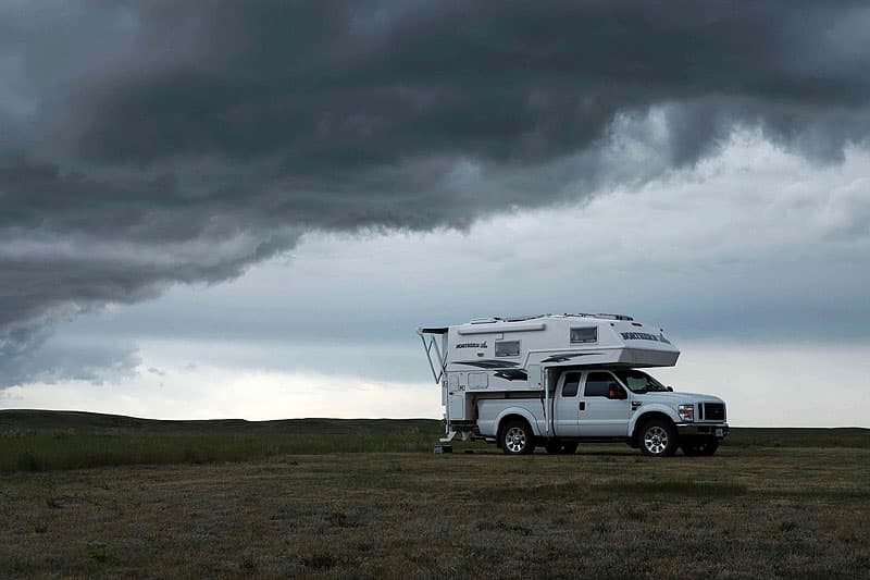 Under a storm at Grasslands National Park, West Block, Saskatchewan