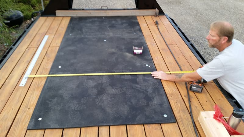 Half-inch rubber mat under the camper