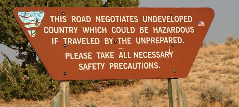 Hazardous Road Sign