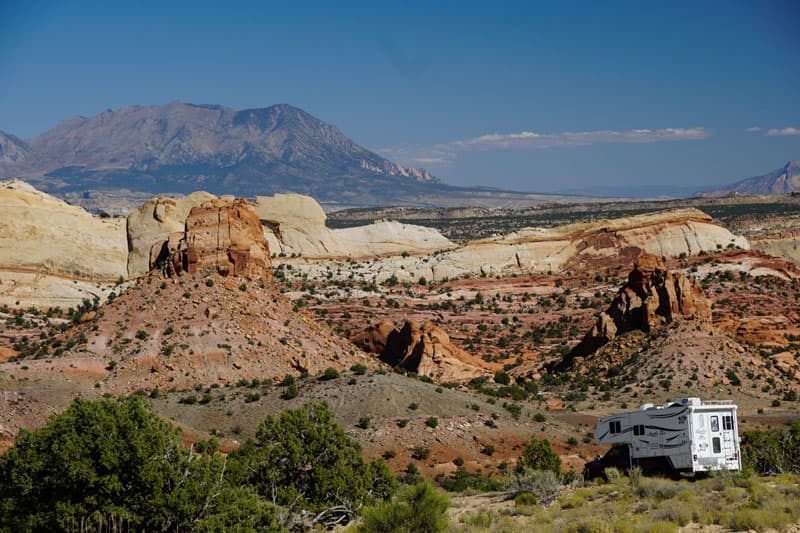 Hole-In-the-Rock Road with truck camper