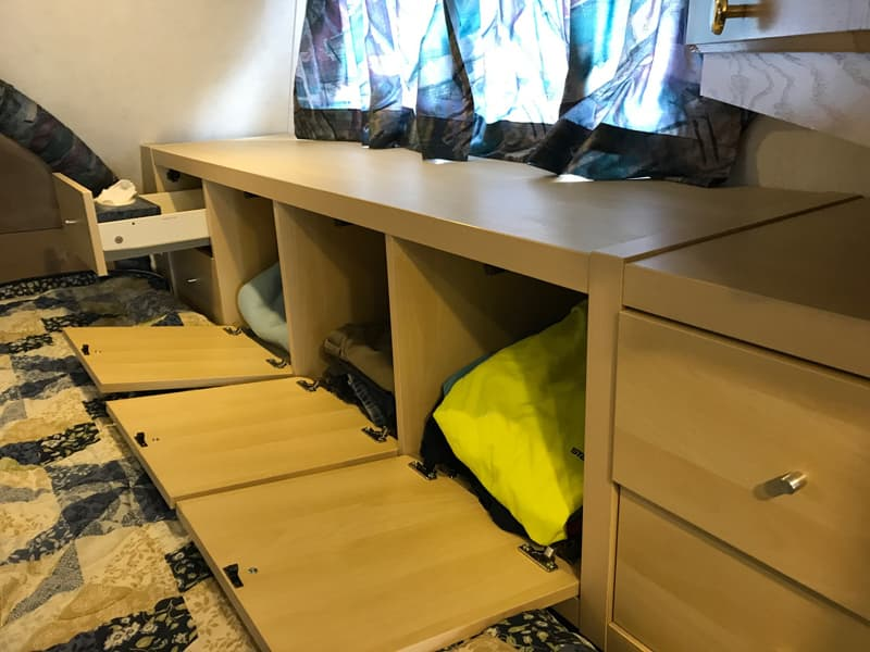 IKEA cabinets in overcab for storage
