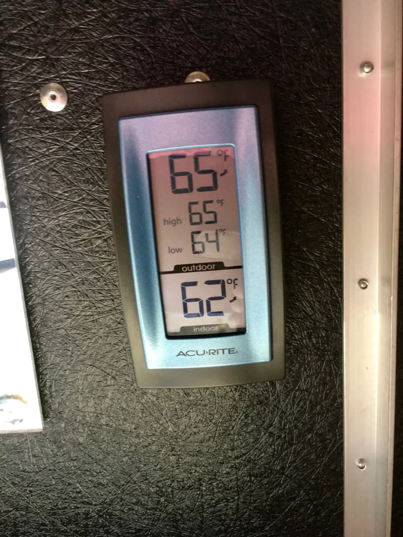 Indoor-Outdoor Thermometer for a truck camper