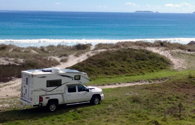 Camping in New Zealand by the ocean