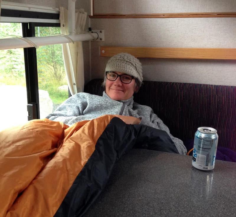 Jennifer in her Hallmark Camper