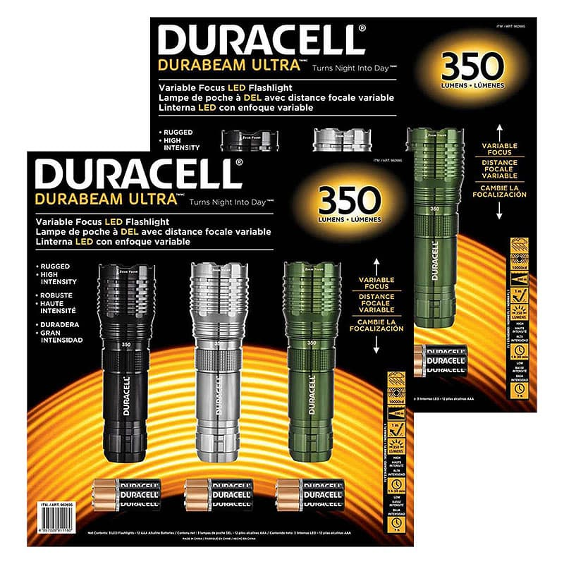 Costco Duracell three-pack LED Flashlight