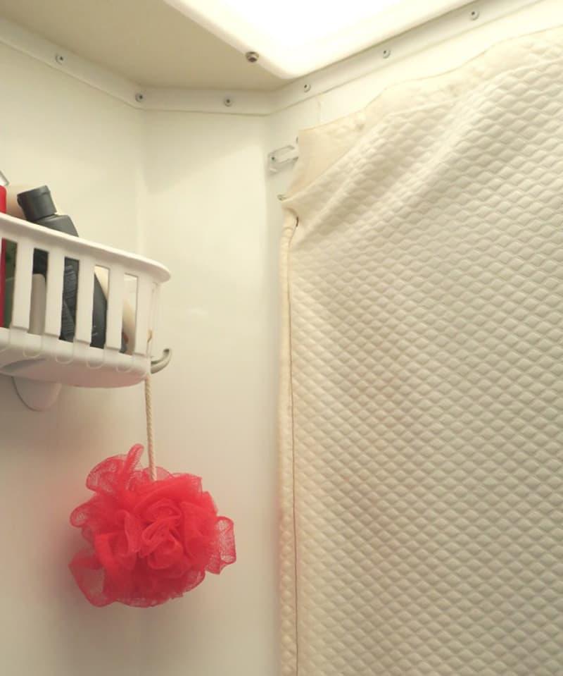 Fury Shower Head In Camper Bathroom