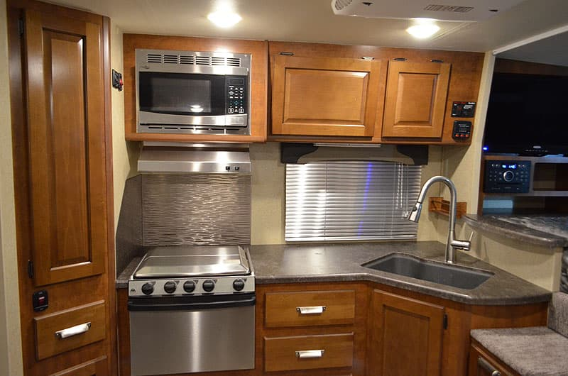 Lance stove, oven, and microwave are stainless steel