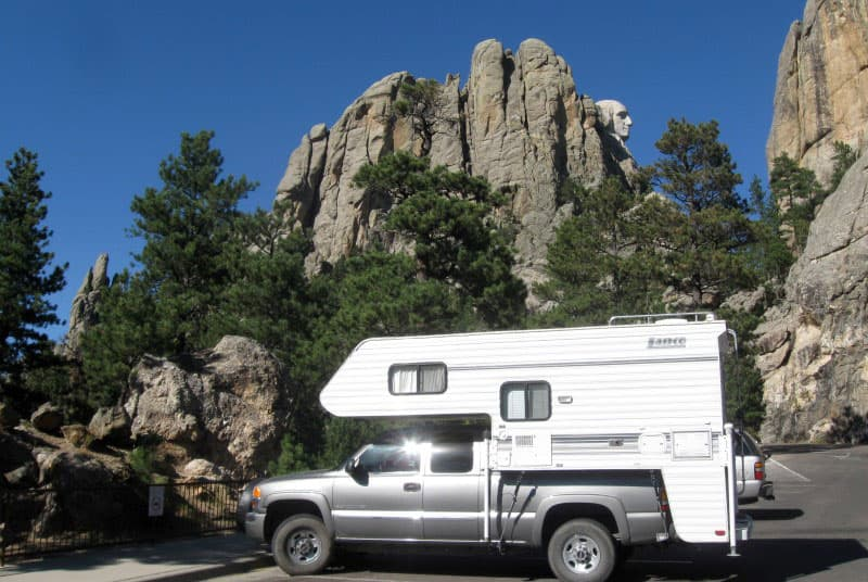 Lance Camper With Mt Rushmore In Background