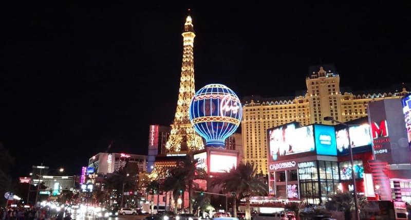 Las Vegas Eiffel Tower At Night