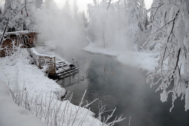Winter at Liard Hot Springs, British Columbia