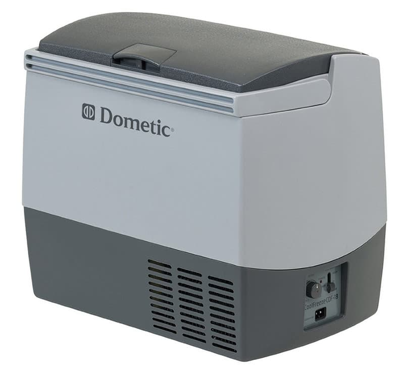 Dometic 12-volt refrigerator in camper