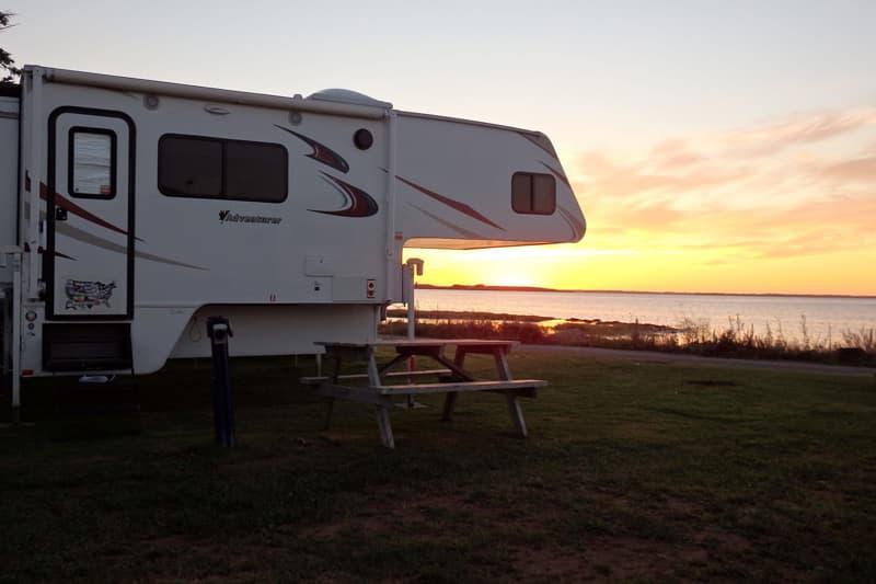 Camper off truck, Malpaque Bay, Prince Edward Island
