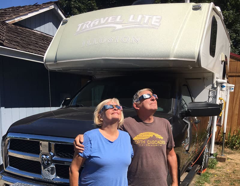 Eclipse glasses with Travel Lite Camper