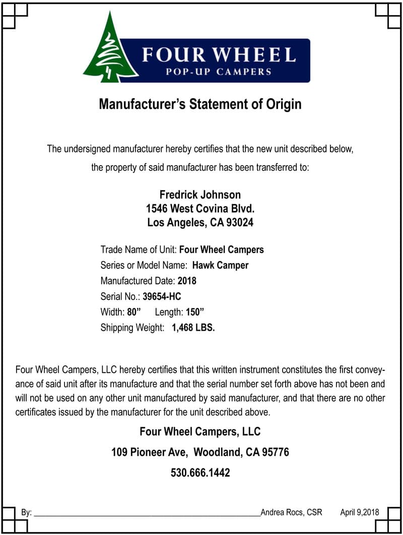 Manufacturer Statement Of Origin for a Four Wheel Camper Hawk