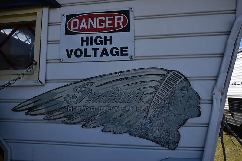 High voltage sign on truck camper