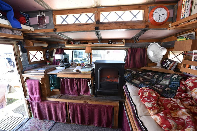 Fireplace in homemade truck camper