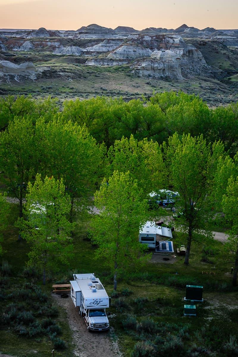Camping at Dinosaur Provincial Park, Alberta