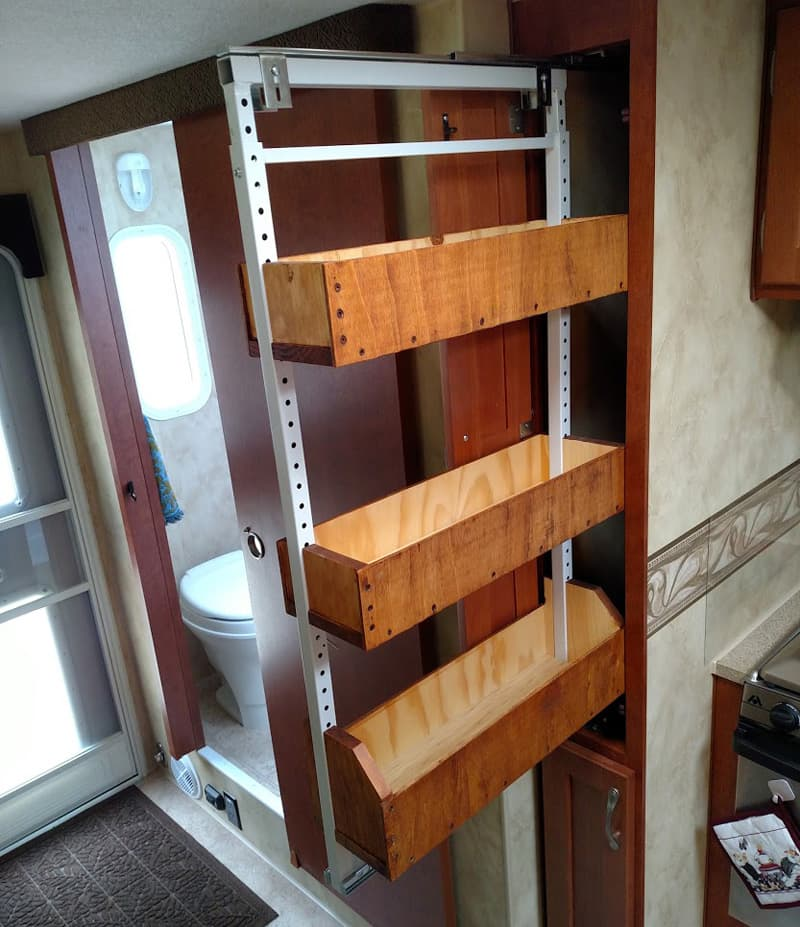 Wooden sliding pantry modification