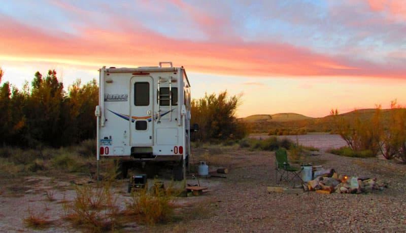 Minimalist Camper Sunset