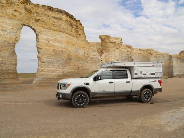 #300 - Wayne PageMonument Rocks, Kansas2016 Nissan Titan XD2007 Four Wheel Camper HawkCamera Used - Canon 6dI had stopped my Monument Rocks several years ago when heading out to see the last Indian battle site in Kansas near Scott City with my F150.  This June my son and I stopped by again on the way out to Denver to meet some friends flying in from Germany.  It had just rained earlier in the day and the dirt roads were slick.  On the way there, with a high crown and deep ditches in some spots, I feared sliding off and getting stuck, delaying our plans to pick up friends at the airport.  My new Nissan truck kept us on track, even though it was sideways at times.  We got to our destination and then back to paved roads on time to continue our journey.