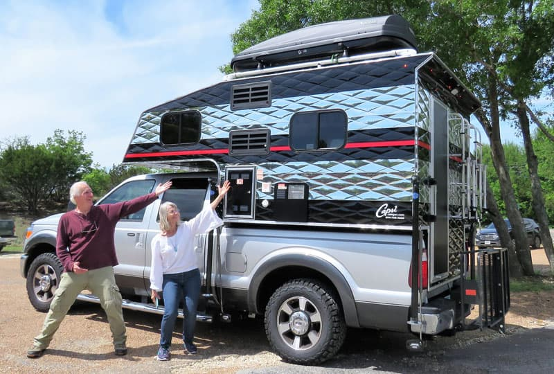 Jim and Nancy with their Capri Camper