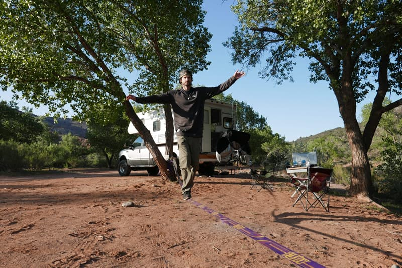 Slack Lining near Zion National Park